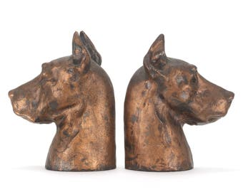 Vintage Pair McClelland Barclay Great Dane Dog Heads Bookends Bronze Bust Sculpture