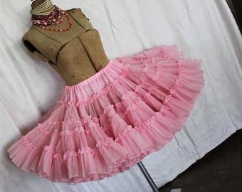 RESERVED for Cheryl    --              Vintage Pink Crinoline Skirt Petticoat Slip