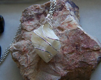Natural Ivory Moonstone Raw Gemstone Pendant
