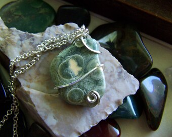 Rainforest Jasper Natural Green Stone Wire Wrapped Necklace