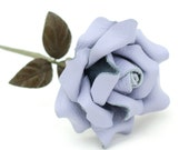 Leather rose periwinkle third Anniversary wedding gift Long Stem leather flower Valentine's Day 3rd Leather Anniversary Mother's Day
