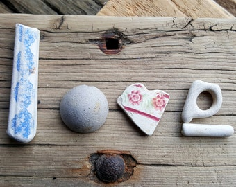 LOVE - Sea Worn Pottery & Clay - Valentines Day - Eco Friendly - Scottish Beach Finds (6217)