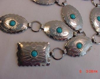 Vintage Faux Turquoise Southwestern Style Adjustable Belt  17 - 646
