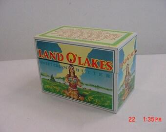 Vintage Land O'Lakes Sweet Cream Butter Metal Recipe Box  17 - 705