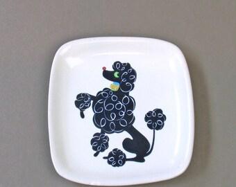 Vintage Glidden Black Poodle Bread and Butter Desert Plate