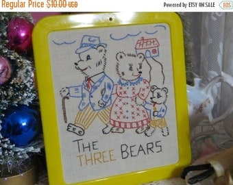 ON SALE Vintage Embroidered and Framed Children's Print-The Three Bears-MINT