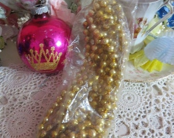 ON SALE Vintage Shiny Brite Glass Garland-NOS_Made in Japan-Original Package-Gold
