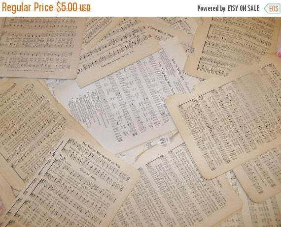 ON SALE Vintage Paper Ephemera Packs-Sheet MUSIC-25 pieces