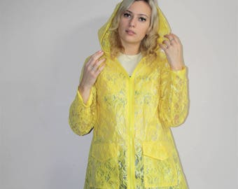 Vintage 1990s Vintage Bright Yellow Lace Transparent Raincoat Hooded Jacket - 90s Clothing - WV0096