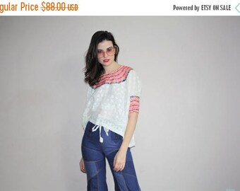 On SALE 40% Off - Vintage 1960s Rainbow Embroidered White Oaxacan Ethnic Hippie Mexican Festival Floral Embroidered Peasant Blouse Top -  W0