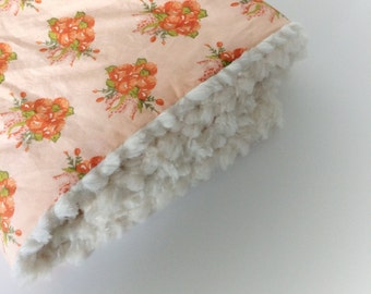 Baby GIRLS Blanket - LOVEY Blanket / Floral Baby Blankets / Minky Blanket / Baby Girl Nursery Blanket -READY to Ship