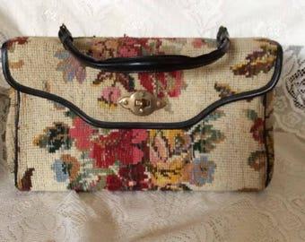Vintage 1960s 1970s Handbag Purse Floral Tapestry Fabric Soft Vinyl Handle & Trim