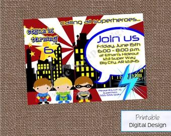 Super Boy Birthday Party Invitation Style DI12190 DIGITAL FILE - Printable