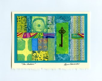 Mixed media note card with removable pendant jewelry collage blue green all occasion stationery original art card
