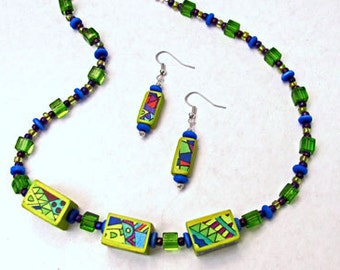 Hand painted bead necklace earring set doodle zen boho jewelry chunky beads yellow green ooak
