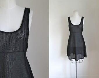 vintage 1980s swim cover up - FISH NET black crochet top / XS-S-M