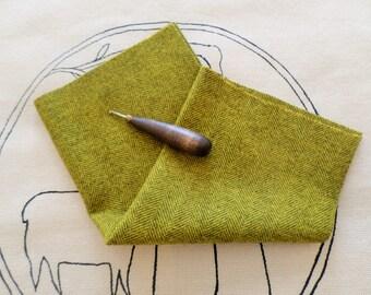 Hand Dyed and Felted Herringbone Wool, PRIMITIVE SUNFLOWER, Woolrug Hooking, Wool Applique, Penny Rugs, 7X15