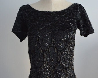 Sale 20% OFF Vintage 1960s JO RO Imports Black Sequined Beaded Fringe  Evening Top Handicraft Cropped Size M