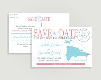 Destination Wedding Save the Date - Postcard Save the Date with Map - Personalized Printable File or Print Package - #00100-STDPC4x6