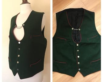 Vintage men's wool forest green chain vest with red piping