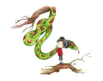 Little girl hugging giant snake - little print