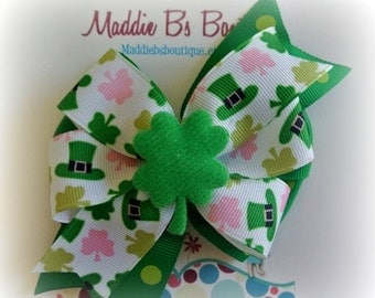 CLOSING SALE St. Patrick's Day Pink and Green Shamrock pinwheel hair bow-green white pink bow-perfect for Disney-Made by Maddie B's Boutique