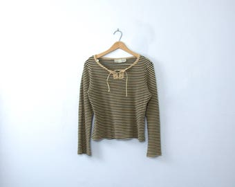 Vintage 90's black and beige striped cropped top, striped shirt with lace up, women's size Medium