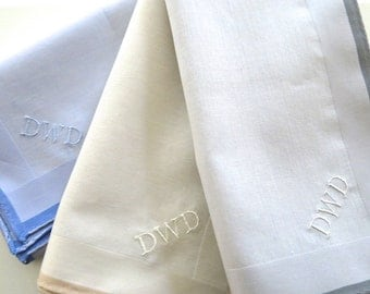 Fathers Day Gift, Wedding Handkerchiefs for Dad, Mens Monogrammed Handkerchiefs Gift Set of 3, Dads Hankerchief