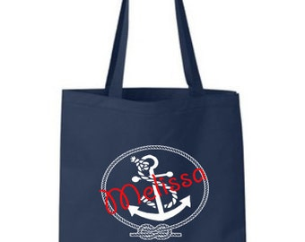 Personalized Anchor Tote Bag with Name Bridesmaid Tote Bag Bridesmaid Gift Anchor Tote Nautical Tote Bag Personalized Gift Bag Tote Bag