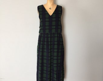 SALE...plaid micro corduroy pinafore dress   side buttoned plaid dress