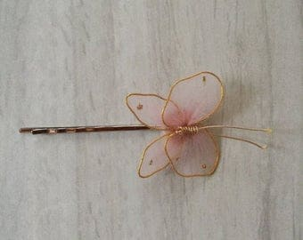 25% OFF SALE ... butterfly barette   vintage pink and gold hair clip