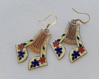 Cloisonne Earrings, Vintage, Dangly,  Gift for Her