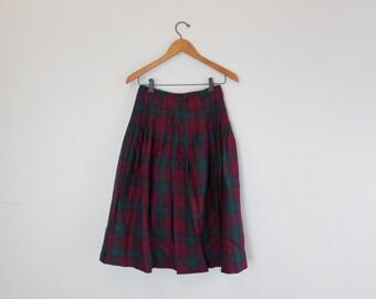 Vintage High Rise Wool Irish plaid Pleated Knee Length Skirt by Blarney