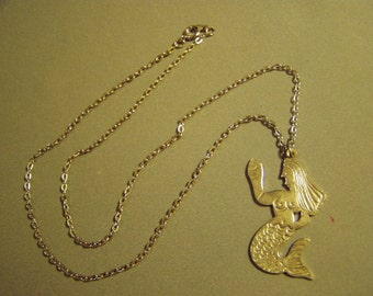 Vintage 1960s Artist Studio Design Mermaid Pendant Necklace Silver Plated Hand Wrought  9005
