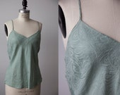 Vintage Mint Green SILK Tank Top Camisole L
