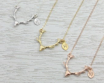 Personalized Gold Initial Deer Antler Necklace, Antler Charm Necklace, Silver-Gold-Rose Gold, Gift for Best Friends, Strong Bond