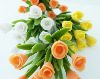 Miniature Polymer Clay Flowers Supplies Tulips with Leaves, set of 12 stems, assorted