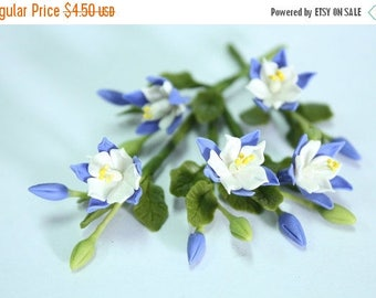 Miniature Polymer Clay Flowers Supplies Columbine, State Flower of Colorado, 6 bunches
