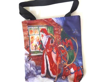 Christmas Santa Claus reindeer sledge children gifts snow house shopping tote shoulder diaper bag lunch handbag 2 side image zipper purse