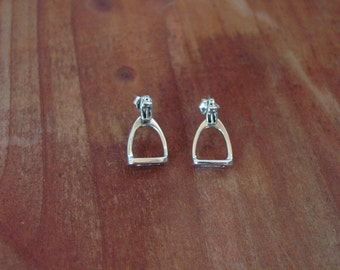 Stirrup Horse Stud Earrings Sterling Silver,Equestrian Jewelry,Stirrup Jewelry