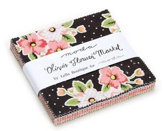 "Moda Precut Cotton 5"" Square Charm Pack Quilt Fabric OLIVES FLOWER MARKET by Lella Boutique"