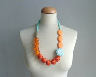 Orange blue long necklace flower necklace, long flower necklace, romantic necklace
