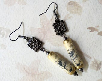 Black, Ivory and Gold Oriental Earrings (3425)