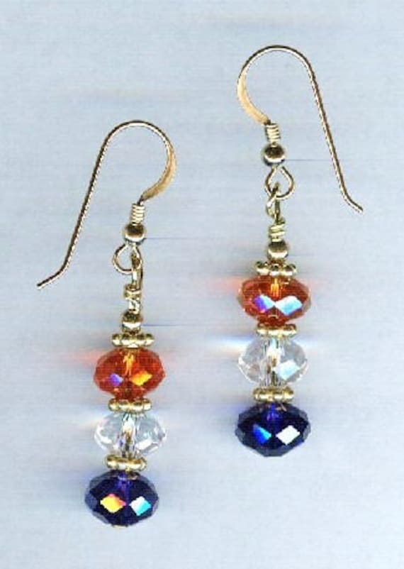 Patriotic Red White & Blue Faceted Smaller Crystal Bead Earrings