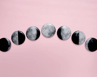 "1"" lunar phase buttons"