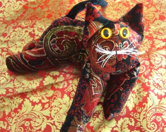 Red Valentine Cat, Paisley  Velvet Cat, posable stuffed cat, wild design, cat collectible, flexible cat,, gift for cat lover