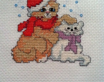 Completed Finished Christmas Cross Stitch - Christmas Cats, Kittens, Christmas Feline Cross Stitch Picture, Decor, Ornament, Christmas Gift