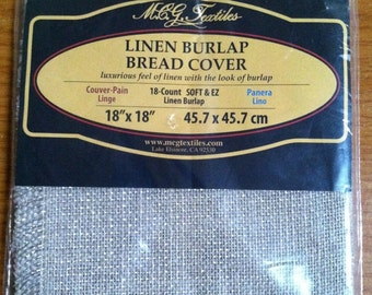 New Sealed M.C.G. Textiles Linen Burlap Bread Cover With Metallic Thread, Linen Bread Cloth, Cross Stitch Needlepoint Embroidery Bread Cover