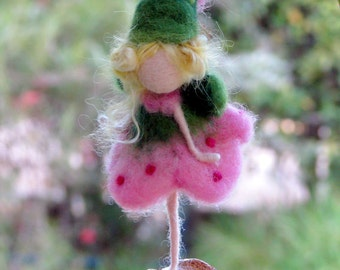 Fairy ornament Needle felted fairy Waldorf inspired doll Candy fairy  Home decor Angel ornament