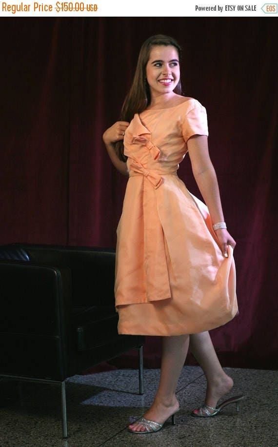 MaySale Vintage 50s 60s Emma Domb Dress, Mad Men Peach Party Dress with Amazing Details XS-S